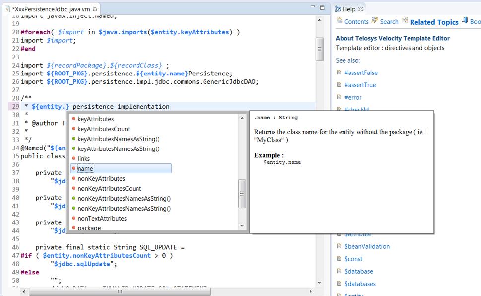 Telosys code generator Eclipse Plugin
